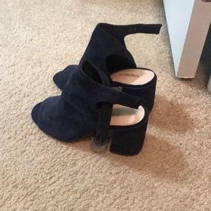 Navy blue open toed heel/wedge/boogie